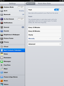 iPad push fetch mail settings