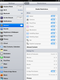 ipad restrictions settings