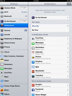 notification services on ipad 3