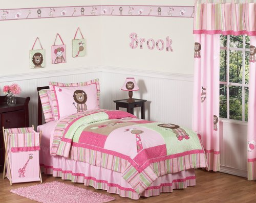 4-Piece Pink Jungle Safari Comforter Set by Sweet JoJo Designs