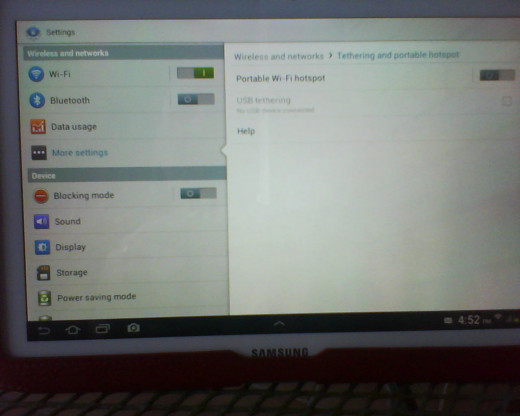 Photo by me.  Shows Tethering and portable hotspot setting on our Samsung Note 10.1.