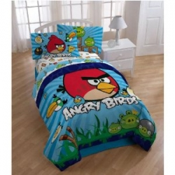 Image credit: Angry Bird Bed-in-a-Bag Comforter set shown here is available below.