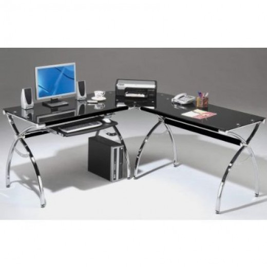 L-Shape Black Glass Computer Desk with Slide Out Computer Tray
