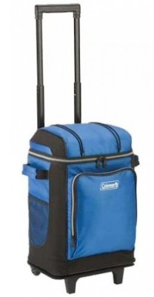 Blue Coleman Soft-Sided Beach Cooler with Wheels and Hard Liner