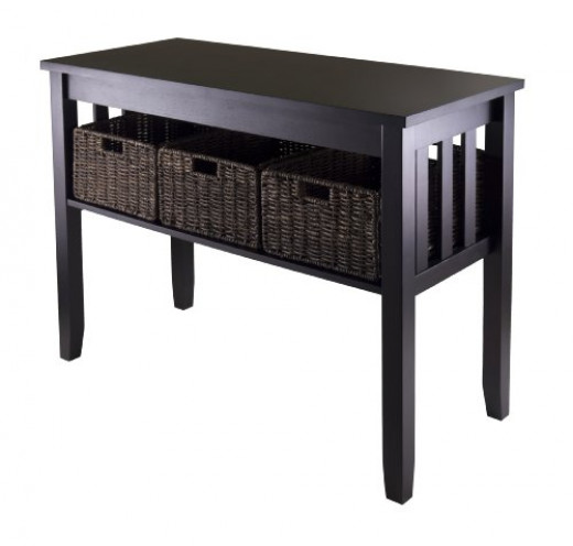 Black Sofa Table with Basket Drawers
