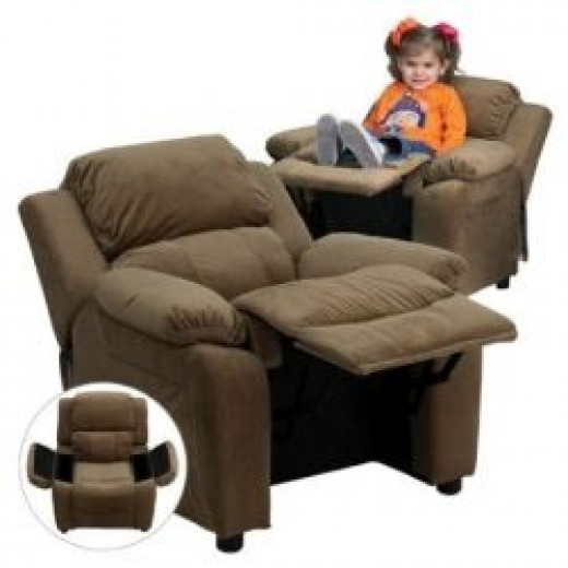 Image credit: Amazon.com. Kids' upholstered rocking recliner shown here is available below.