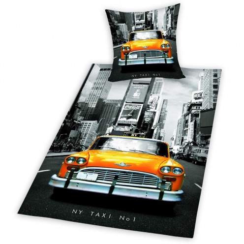 Twin Size Black & White Color Splash NYC Skyline Taxi Duvet Set