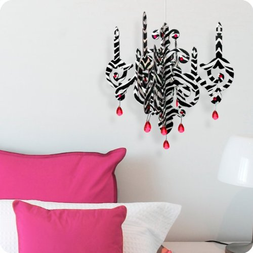 Wall Decal/Sticker Zebra Print Chandelier with Crystals