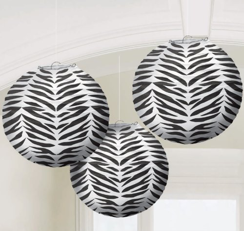 Set of 3 Zebra Stripe Paper Lanterns