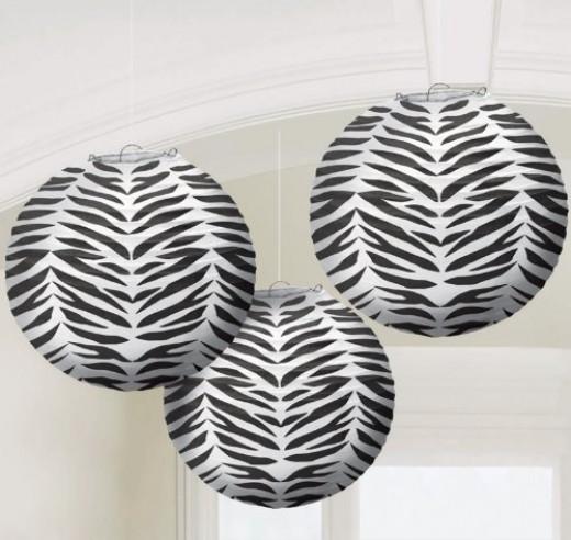 Set of 3 Zebra Stripe Paper Lanterns
