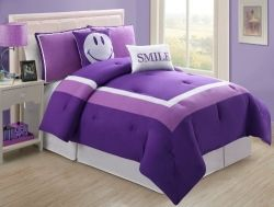 Image credit: Amazon.com. Fun purple smile face bedding set for tween girls shown here is available below.