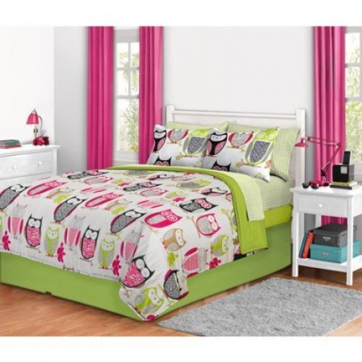Tween Girl Cute Owl Lime Green & Pink Bedding Set