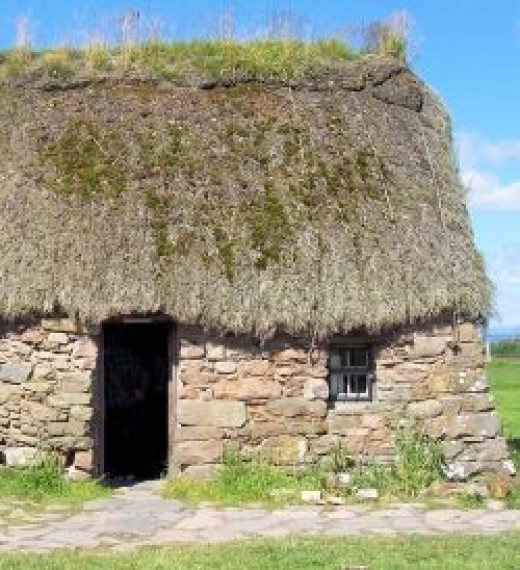 Old Leanach Cottage, the only building left after the battle.