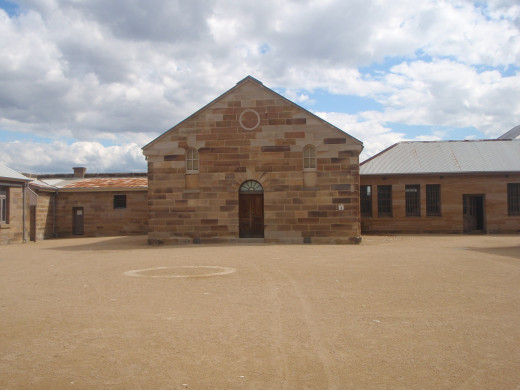 Part of the large enclosed courtyard of the convict precinct.