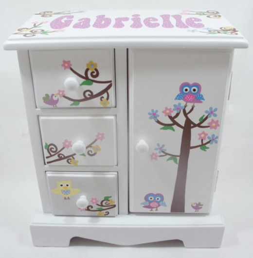 Owls and Birds Personalized Kids jewelry boxes for girls - NanyCrafts.com