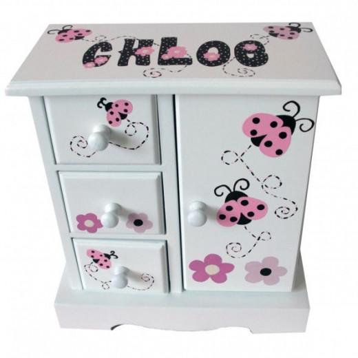 Musical Jewelry Box - Pink Ladybugs from NanyCrafts.com
