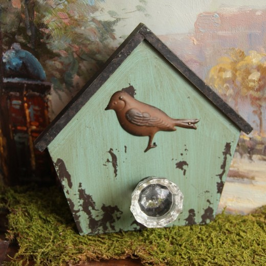 Bird Wall Hook, Birdhouse with Crystal Knob