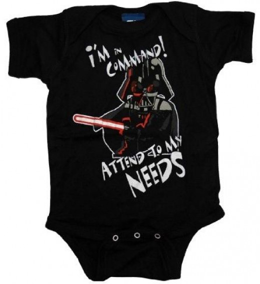 stars wars darth vader in command funny baby onesie
