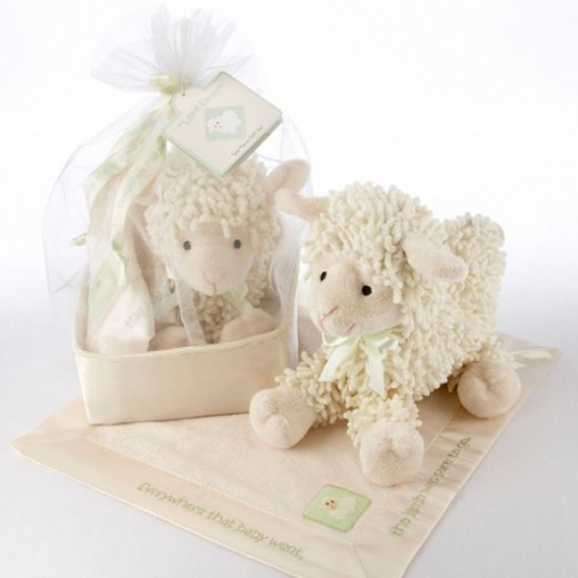 Love Ewe Plush Lamb and Lovie Gift Set in Organza-and-Satin Drawstring Bag - Without Personalization