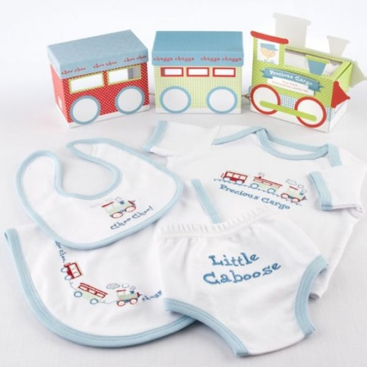 Precious Cargo Four Piece Embroidered Layette Set with Keepsake Train Gift box