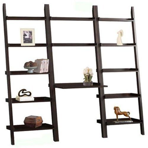 Cappuccino Brown 3-piece Leaning Ladder Bookshelf with Laptop Desk