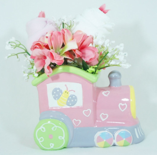 Floral baby gift set Planter Pink Train and 2 Onesies - 2