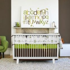 Modern Green Baby Nursery Bedding and Decor