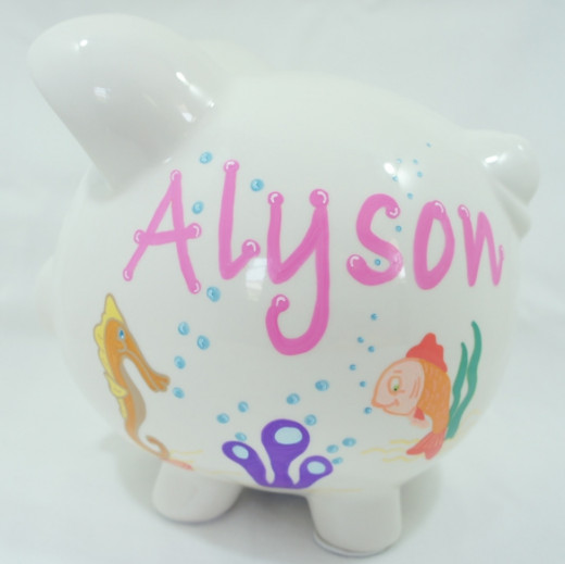 Sea Life Creatures 1 - Personalized piggy bank for kids from nanycrafts.com