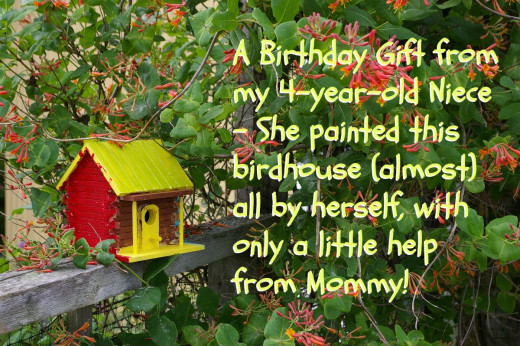My 4-year-old niece painted this decorative wooden birdhouse with just a little help from her mother.