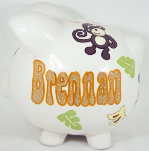 Monkey Theme 1 - Personalized Piggy Bank for Kids from NanyCrafts.com