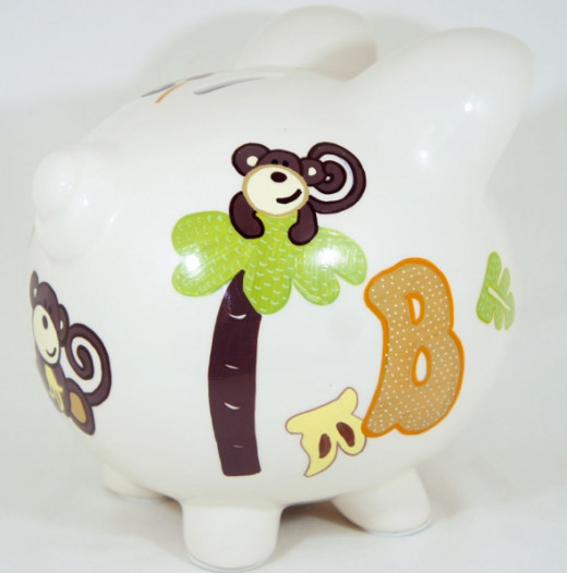 Monkey Theme 2 - Personalized Piggy Bank for Kids from NanyCrafts.com