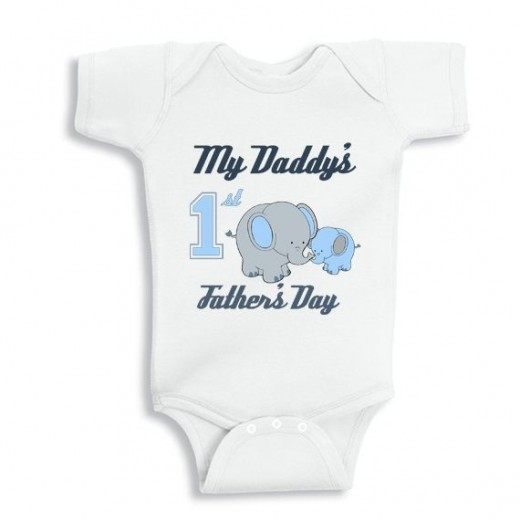 My Daddys First Fathers Day with elephants baby bodysuit for boys