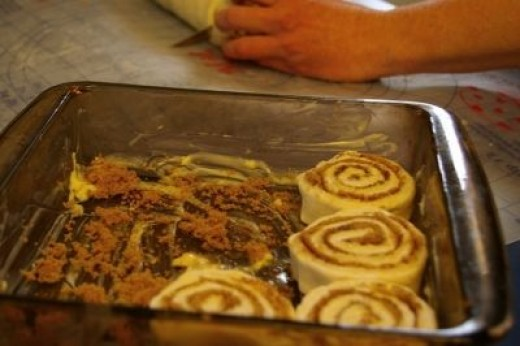 No-Yeast Sticky Cinnamon Buns going into the baking pan