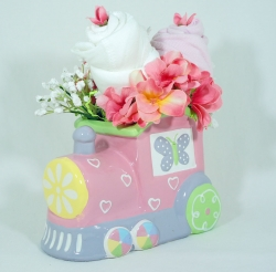 Floral baby gift set Planter Pink Train and 2 Onesies