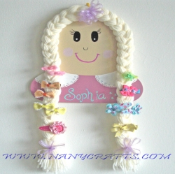 Blonde Lil Doll Hair Baby Name Plaque and Jewelry Holder