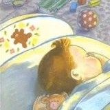 Toddler bed - detail of Sheila McGraw illustration for Love You Forever by Robert Munsch