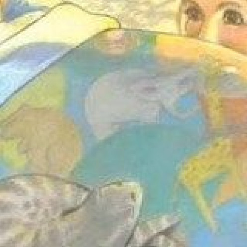 Bedding - - detail of Sheila McGraw illustration for Love You Forever by Robert Munsch