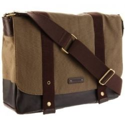 "Storksak ""Aubrey"" messenger diaper bag in gender-neutral tones of canvas and cotton."