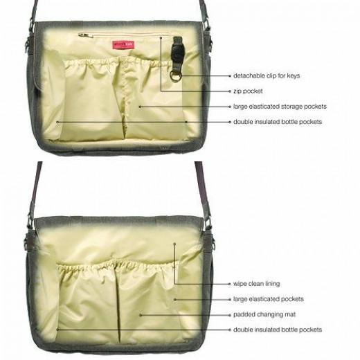 Storksak Aubrey Messenger Diaper Bag - features, interior
