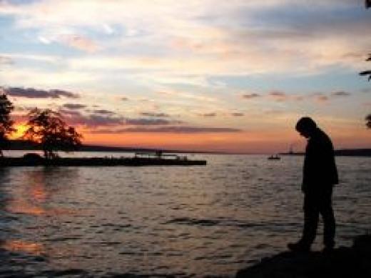 Sunset on Cayuga Lake by Diane Cass
