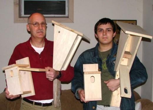 My busy boys with their wonderful birdhouses.