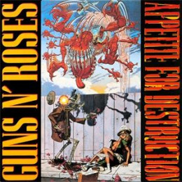 The original awesome cover for Appetite for Destruction. Artwork is by artist Robert Williams.