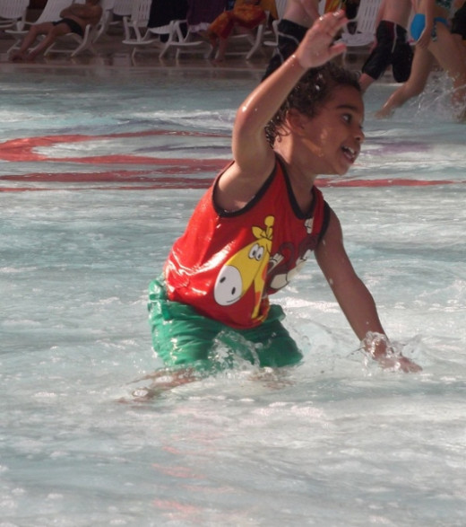 Dancing or splashing; who knows?
