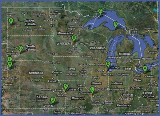Midwest road trip route map