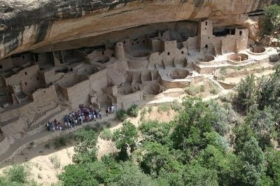 Cliff Palace in Mesa Verde as seen from above