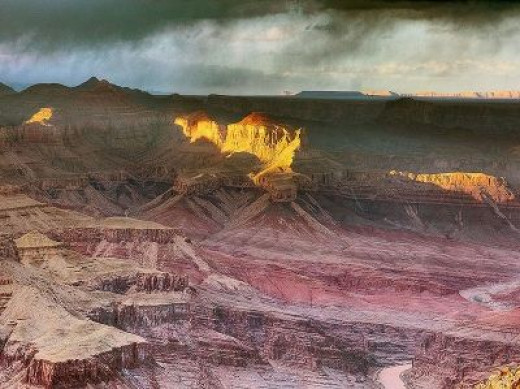 The south rim of Grand Canyon Apollo Throne as seen during sunset.