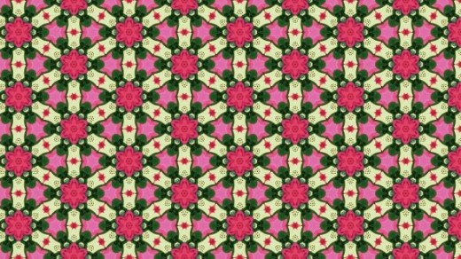 Fan Lattice with Pink Flower and Green Leaf Lattice