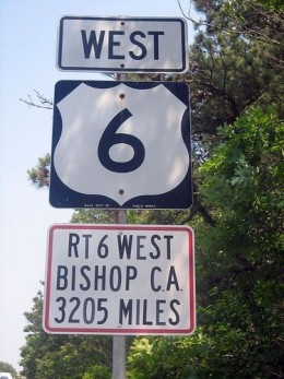 Route 6 begins in Provincetown, MA, ends in Bishop, California at 3205 miles.