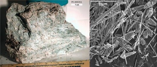 A sample of Asbestos (Left), and the a magnified view of the sample (Right)