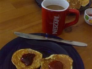 Pikelets with jam and coffee